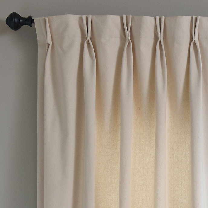 Set of 2 double pinch pleat 48inw custom panels ballard for Roller pleat curtains