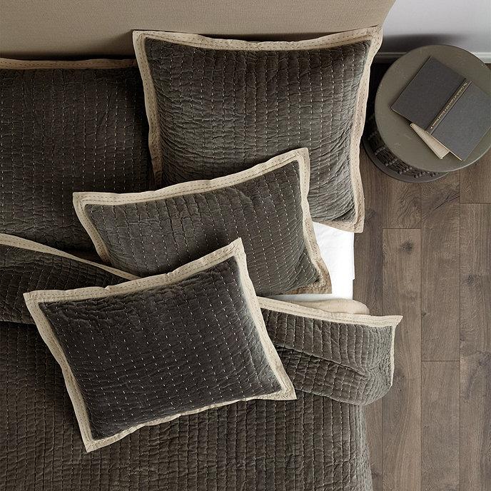 Lucca Velvet Stitched Quilted Bedding Ballard Designs