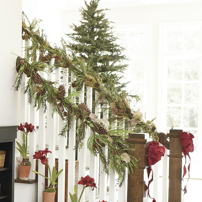 Kinsey garland holiday accessories ballard designs for Fresh garland on banister