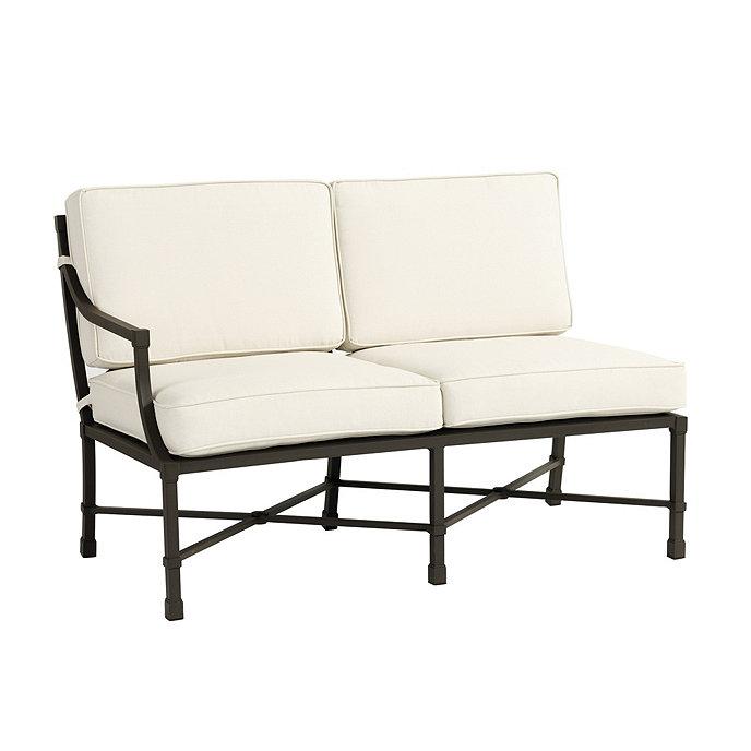 Suzanne kasler directoire left arm loveseat ballard designs for Ballard designs chaise lounge