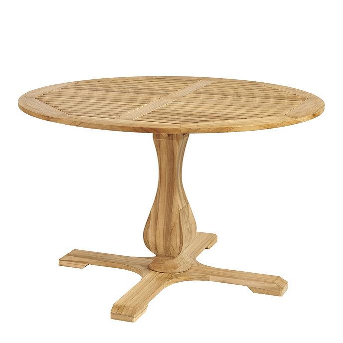 ceylon teak round pedestal dining table 48 inch ballard designs