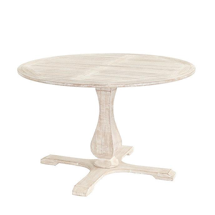 ceylon whitewash round pedestal dining table 48 inch ballard