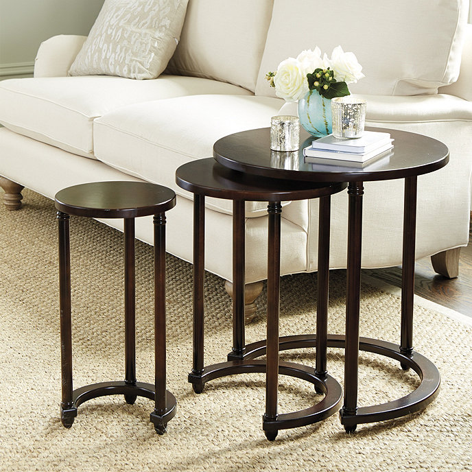 Table Round Industrial Coffee Table Gratifying Ballard: Lucca Round Nesting Tables - Set Of 3