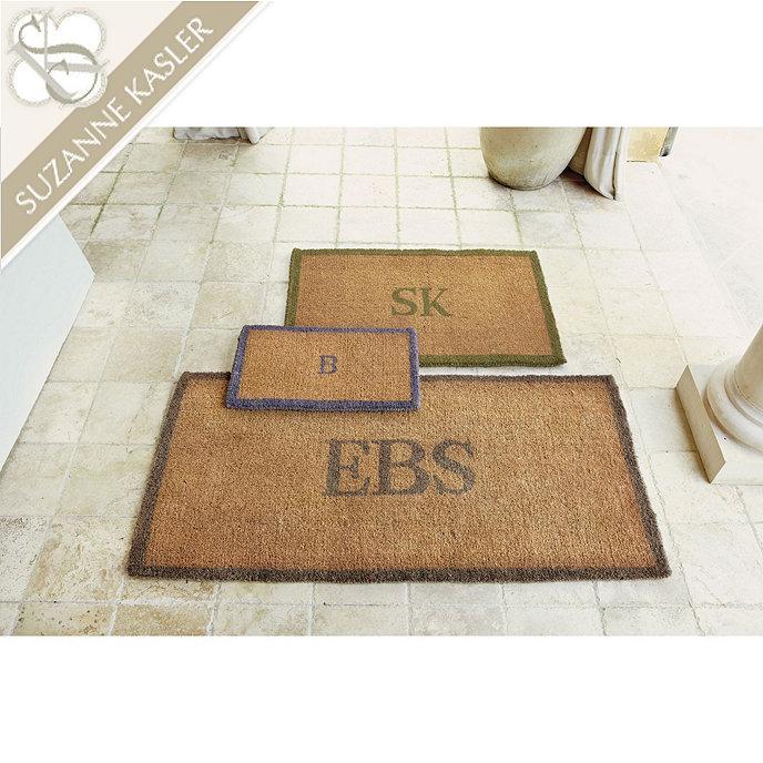 Suzanne kasler bordered initial coir mat ballard designs for Designer front door mats