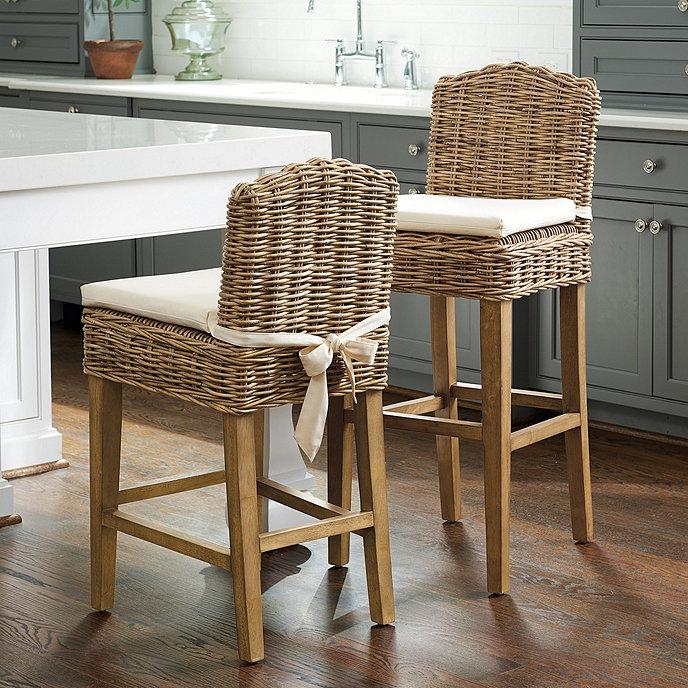 Ballard Design Kitchen Chairs: Rosalind Wicker Stools