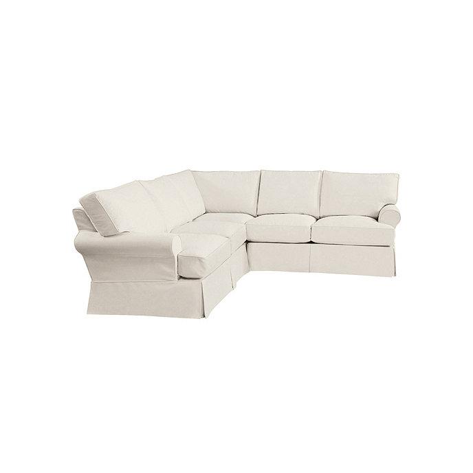 Davenport 3 piece sectional slipcover ballard for Separate sectional sofa pieces