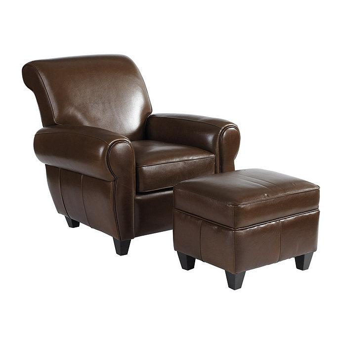 Paris Leather Chair & Ottoman | Ballard Designs