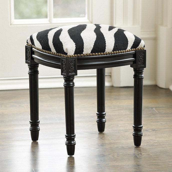 Louis Needlepoint Zebra Stool Ballard Designs