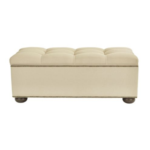 Amelia Tufted Storage Bench with Brass Nailheads
