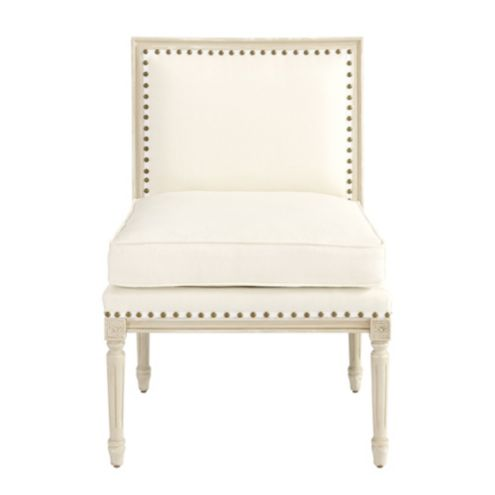 Louis Armless Chair with Brass Nailheads