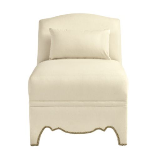 Amal Slipper Chair with Brass Nailheads
