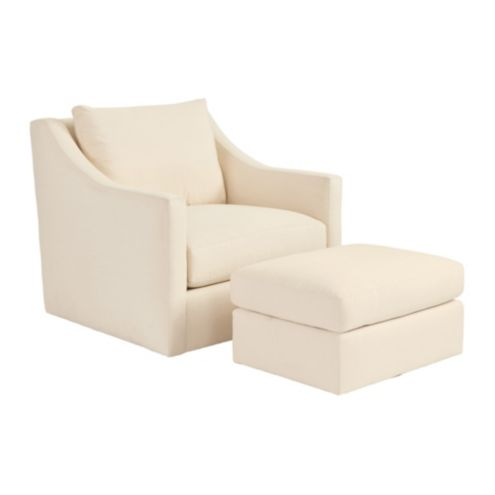 Sutton Upholstered Swivel Chair & Ottoman