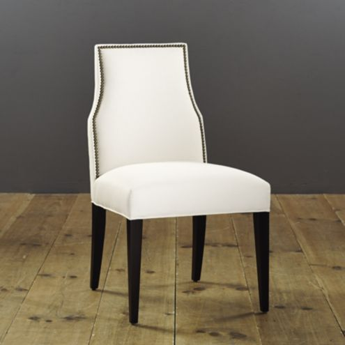Mia Dining Side Chair with Brass Nailheads