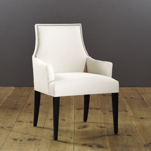 Mia Dining Armchair with Pewter Nailheads