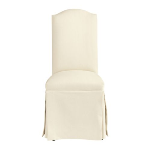 Upholstered Camel Back Parsons Chair with Casters