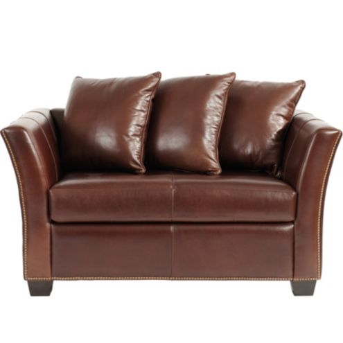 Tate Leather Twin Sleeper with Antique Brass Nailheads