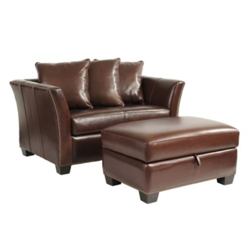 Tate Leather Twin Sleeper and Storage Ottoman with