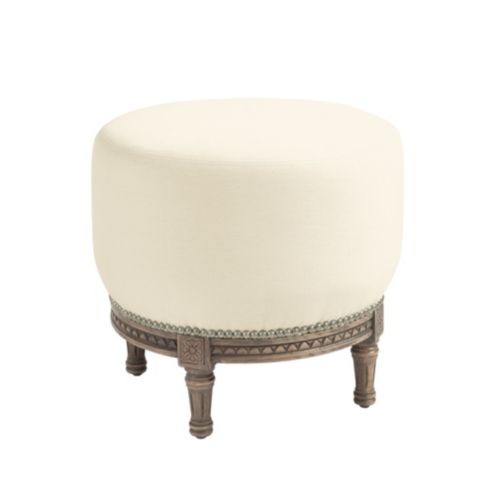 French Tuffet Ottoman with Pewter Nailheads