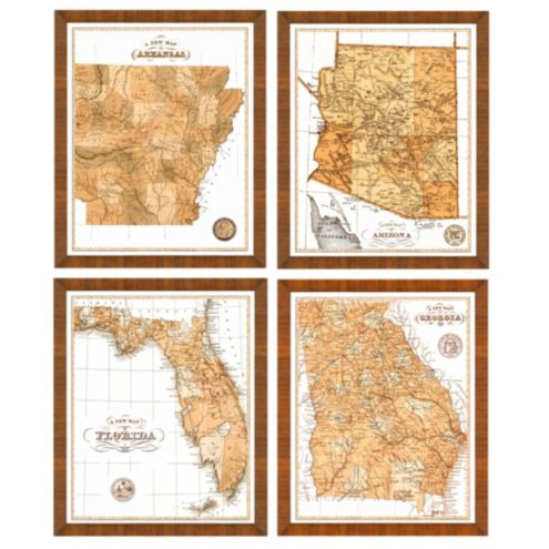 Set of any 2 Sepia State Map