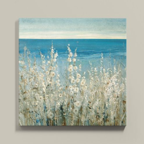Shoreline Flowers Stretched Canvas