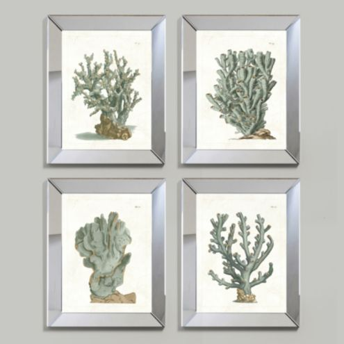 Coral Mirror Framed Art