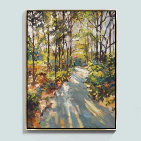 A Sunlit Stroll Framed Canvas