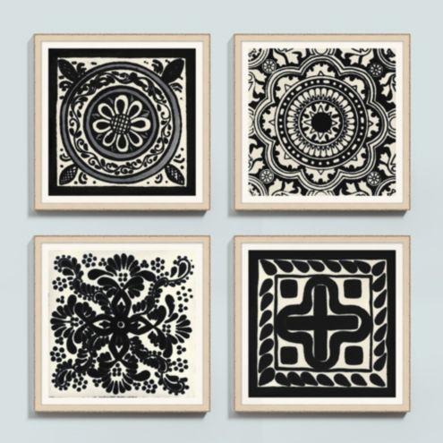 Black Medallion Tile Framed Print