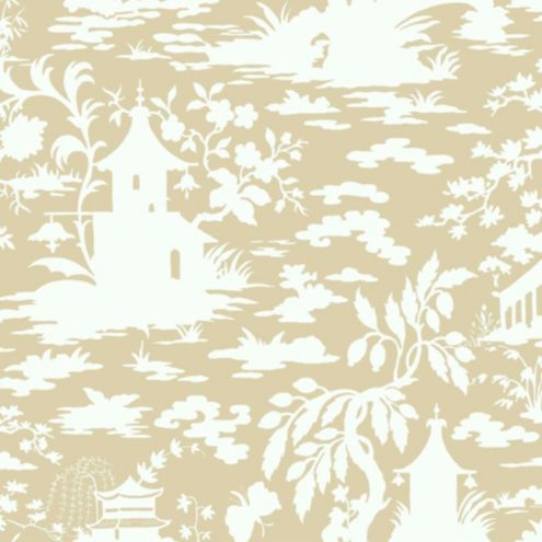 Asian Scenic Toile Wallpaper Beige/White Double Roll