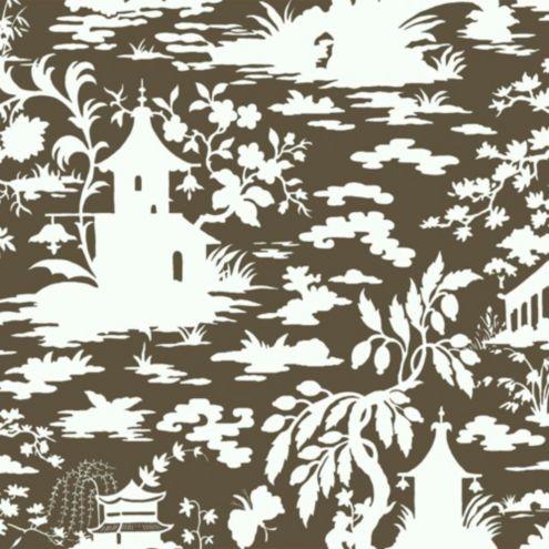Asian Scenic Toile Wallpaper Brown/Cream Double Roll