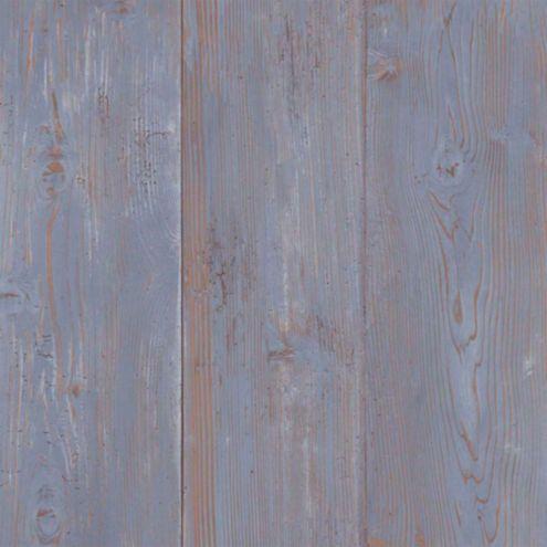Cabin Boards Wallpaper Blue Double Roll