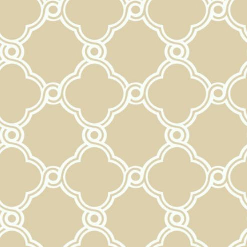 Fretwork Trellis Wallpaper Beige/White Double Roll