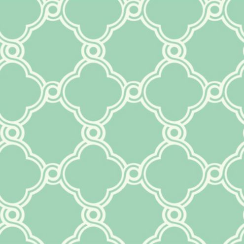 Fretwork Trellis Wallpaper Mint Green/White Double Roll