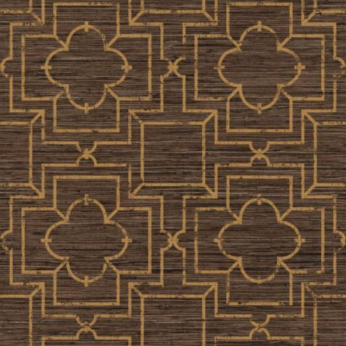Port Trellis Wallpaper Brown/Gold Double Roll