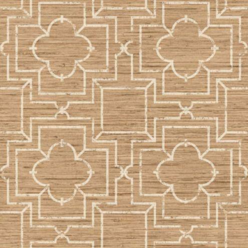Port Trellis Wallpaper Tan/Cream Double Roll