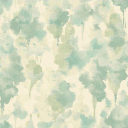 Nature's Illusion Wallpaper Silvery White/Aqua/Green Double Roll