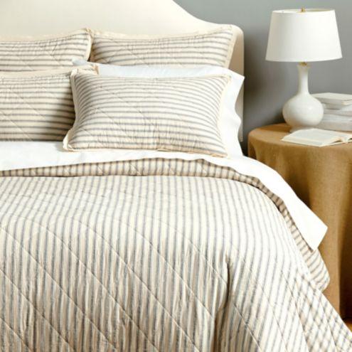 Ticking Stripe Quilted Bedding | Ballard Designs : ticking quilt - Adamdwight.com
