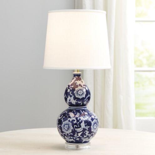 Excellent Blue & White Double Gourd Table Lamp | Ballard Designs EG23