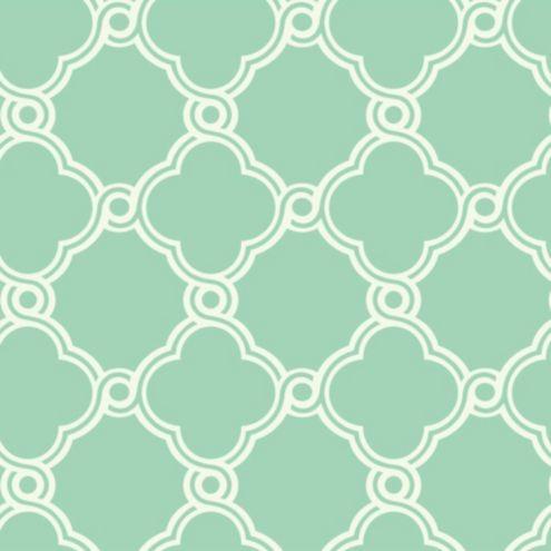 Fretwork Trellis Wallpaper Mint Green White Double Roll