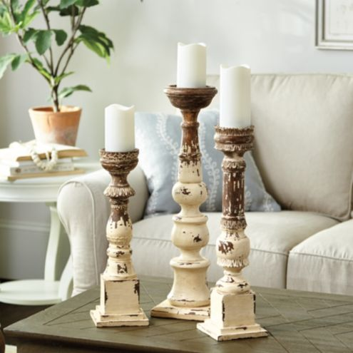 Grand Distressed Wood Candle Holder Ballard Designs