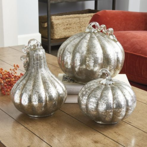 Mercury Glass Pumpkins - Set of 3