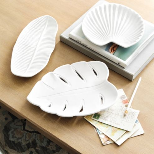 Bisque Leaf Trays