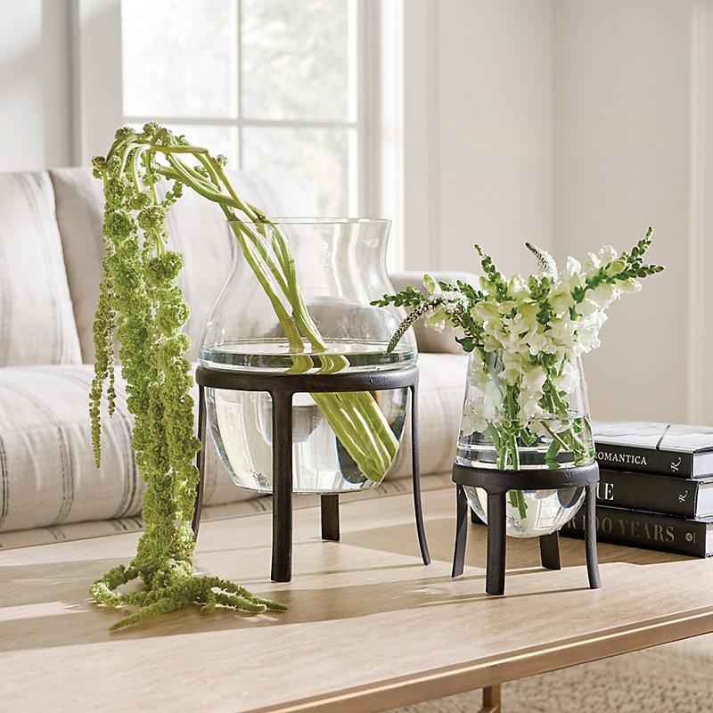 Esme Large Glass Flower Vase in Green