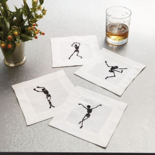 Dancing Skeleton Cocktail Napkins - Set of 4