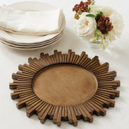 Wood Sunburst Charger