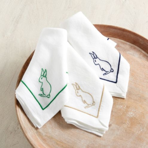Embroidered Bunny Napkins - Set of 4