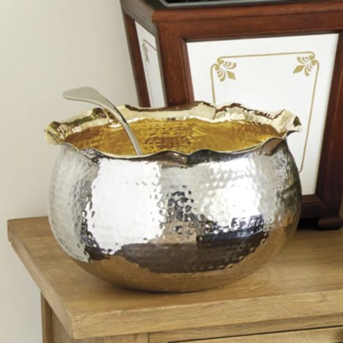 Bunny Williams Hammered Gilt Punch Bowl with Ladle