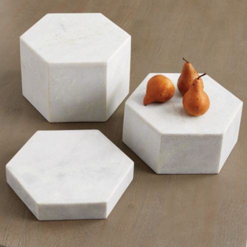 Geometric Marble Serving Stands