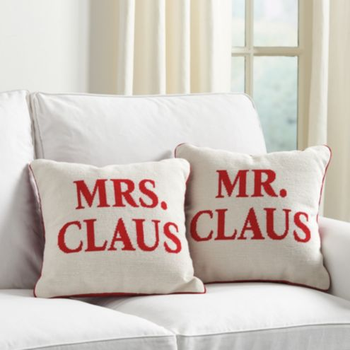 Mr. & Mrs. Clause Holiday Needlepoint Pillows