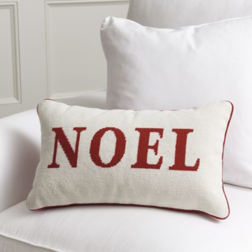Noel & Peace Holiday Needlepoint Pillow