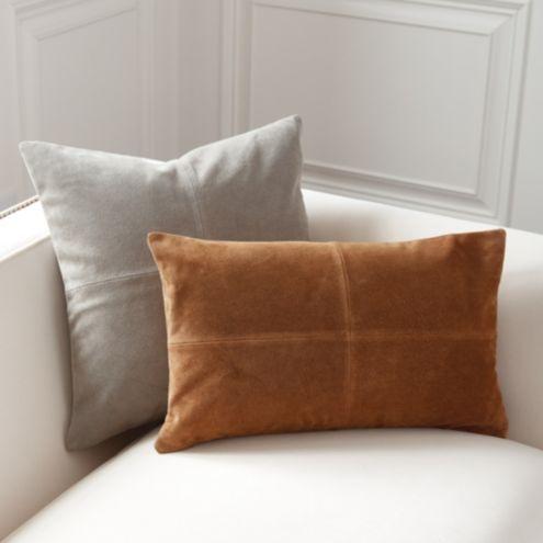Sueded Leather Throw Pillows Ballard Designs